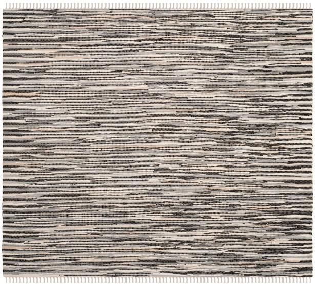 Shatzer Hand-Woven Black Area Rug Rug Size: Square 6'