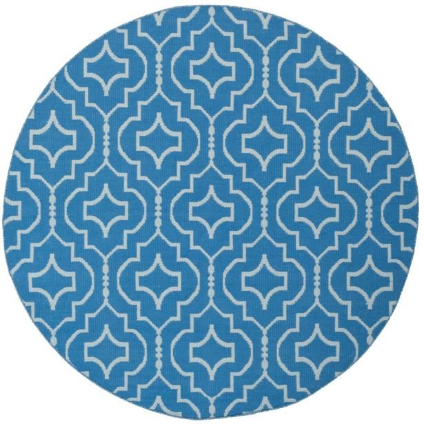 Rennie Hand-Woven Blue/Ivory Area Rug Rug Size: Round 6'
