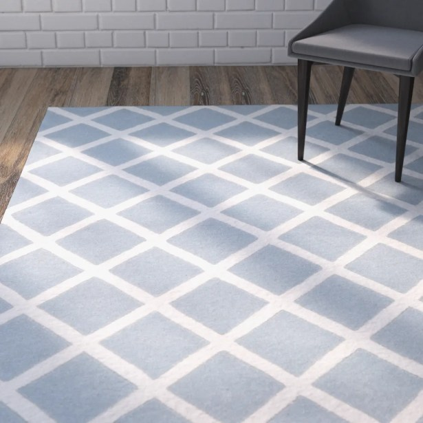 Wilkin Hand-Tufted Light Blue/Ivory Area Rug Rug Size: Rectangle 5' x 8'