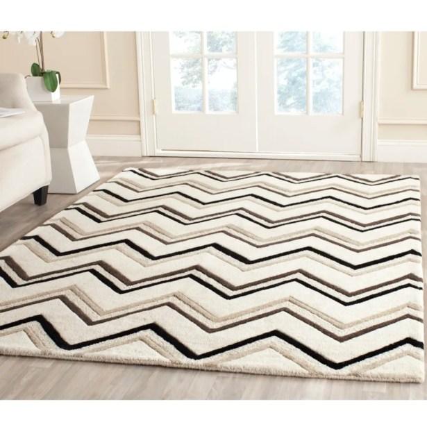 Charlenne Hand-Tufted Wool Ivory/Black Area Rug Rug Size: Rectangle 5' x 8'