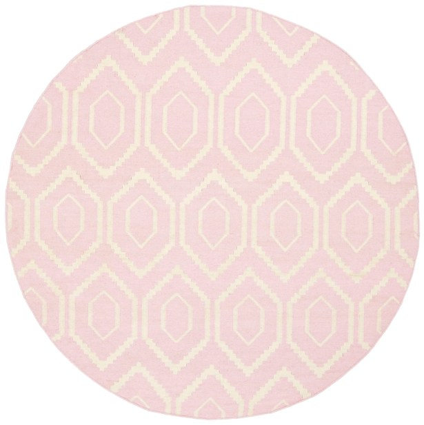 Crawford Hand-Woven Wool Pink/Ivory Area Rug Rug Size: 5' x 8'