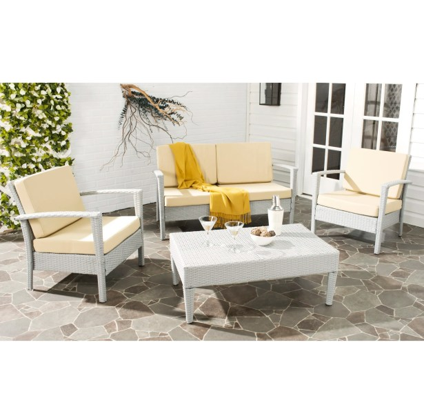 Cade 4 Piece Rattan Sofa Set with Cushions Frame Color: Light Gray, Cushion Fabric: Light Yellow
