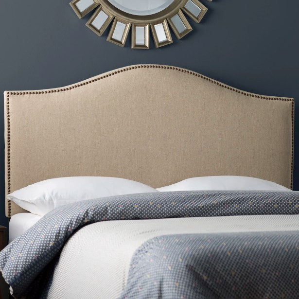 Rumford Upholstered Panel Headboard Size: Queen, Color: Hemp, Upholstery: Linen
