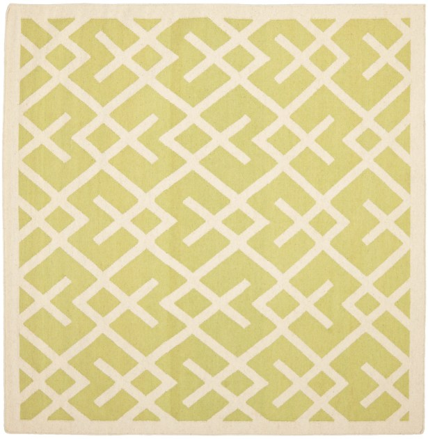 Crawford Hand-Woven Light Green/Ivory Area Rug Rug Size: Square 8'