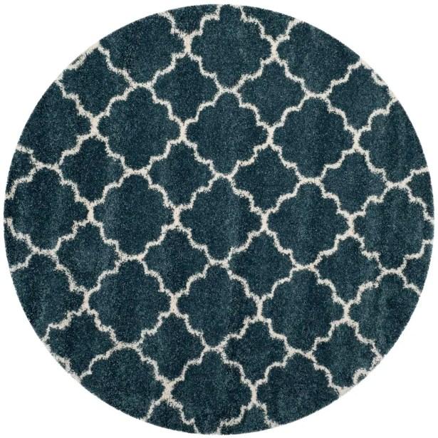 Melvin Modern Shag Blue/Beige Area Rug Rug Size: Round 7'