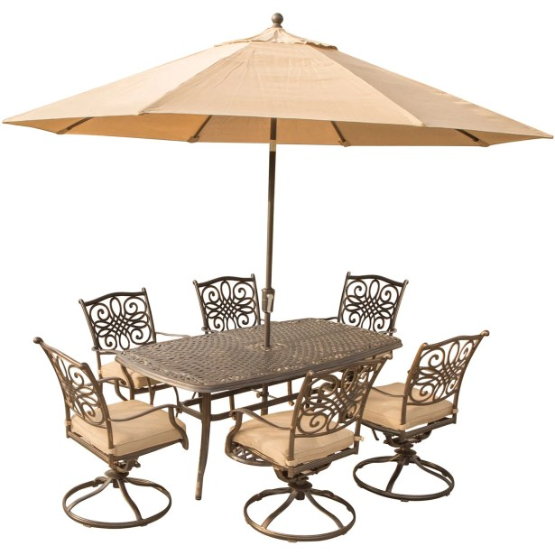Lauritsen 7 Piece Dining Set with Brown Cushions