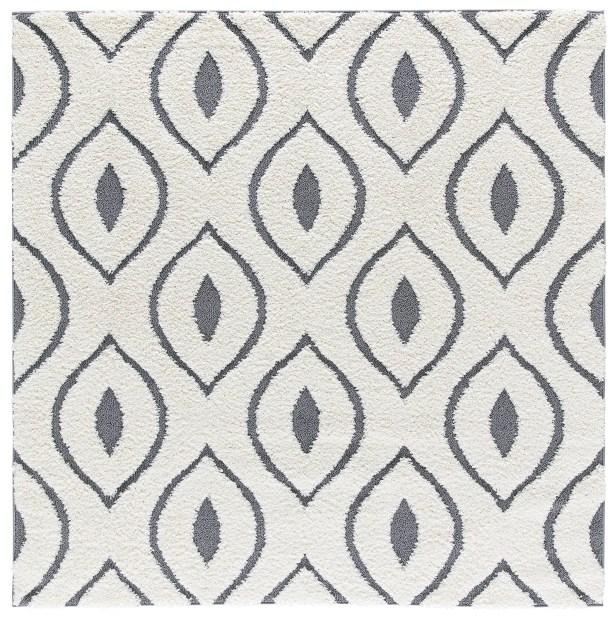 Artz White/Gray Area Rug Size: 6' x 6'