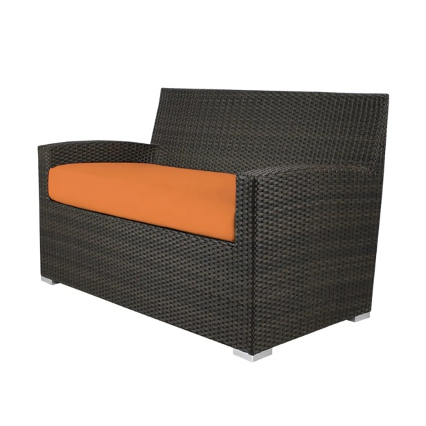 Roose Loveseat with Cushion Fabric: Sunbrella Tangerine