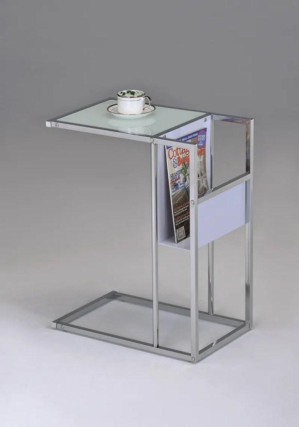 Leonis End Table Color: White / Chrome