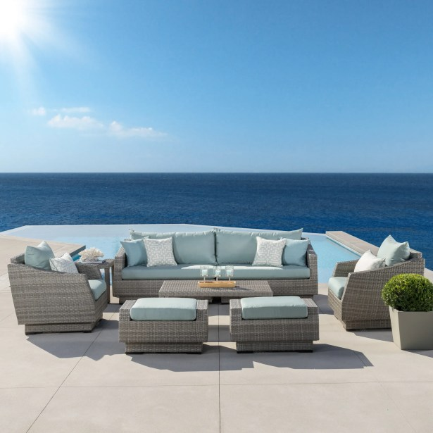 Castelli 8 Piece Rattan Sofa Seating Group with Cushions Fabric: Spa Blue