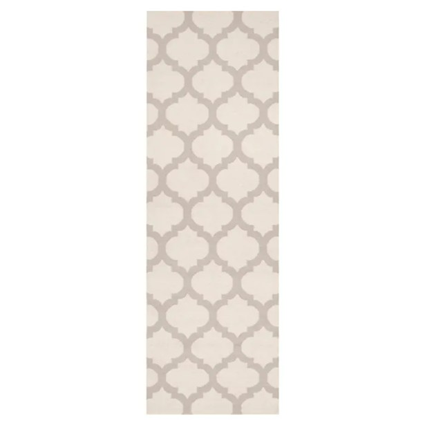 Hackbarth Oatmeal/White Area Rug Rug Size: Runner 2'6