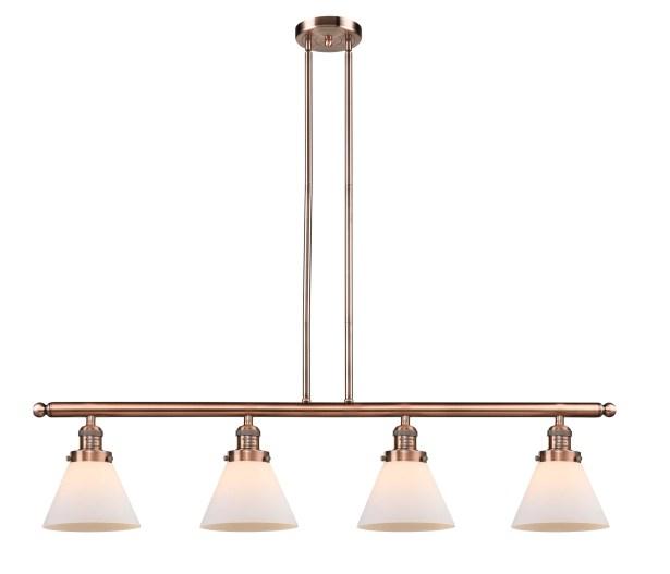 Elliston Glass Cone 4-Light Kitchen Island Pendant Finish: Antique Copper, Shade Color: Matte White Cased, Size: 48