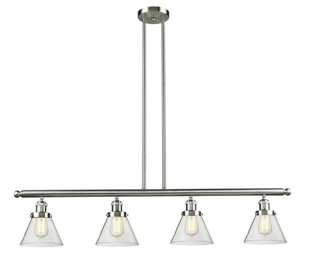 Elliston Glass Cone 4-Light Kitchen Island Pendant Size: 48