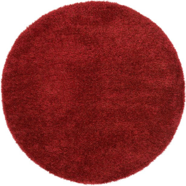 Evelyn Red Area Rug Rug Size: Round 6'