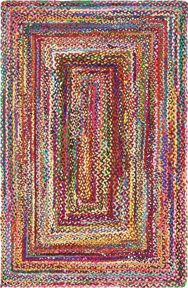 Partee Hand-Braided Red Area Rug Rug Size: Rectangle 6' x 9'