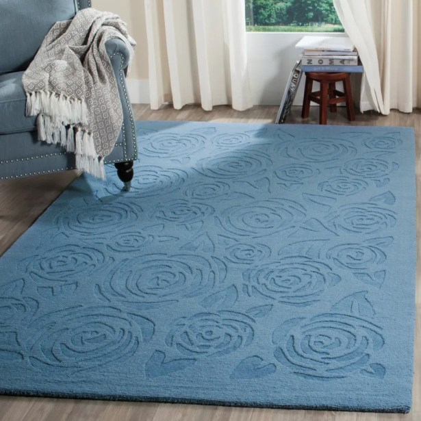 Block Rose Hand-Loomed Thistle Blue Area Rug Rug Size: Rectangle 4' x 6'