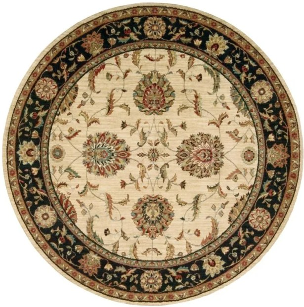 Crownover Wool Ivory/Black Indoor Area Rug Rug Size: Round 7'10