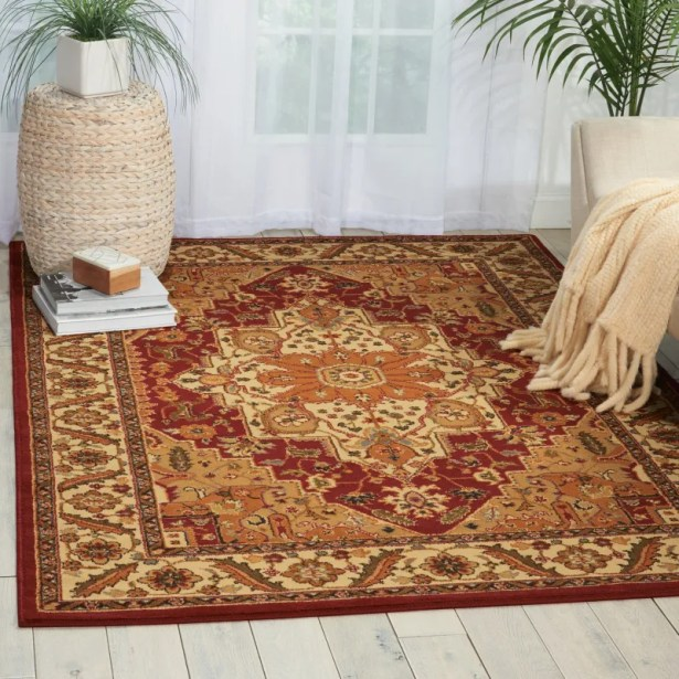 Lukeson Red/Brown Area Rug Rug Size: Rectangle 7'10