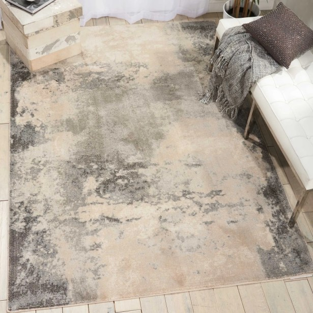 Mana Ivory/Gray Abstract Area Rug Rug Size: Rectangle 9'3