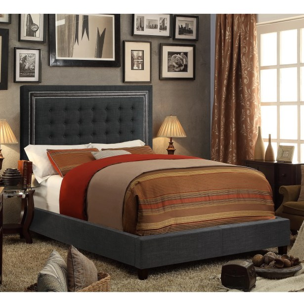 Rawley Upholstered Panel Bed Color: Charcoal, Size: Queen