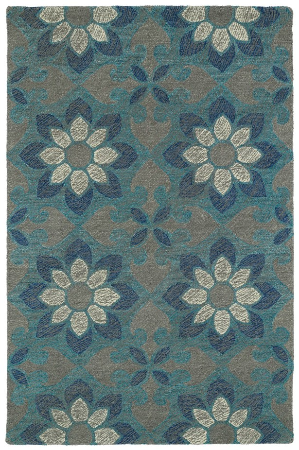 Hand-Tufted Blue Area Rug Rug Size: Rectangle 3'6