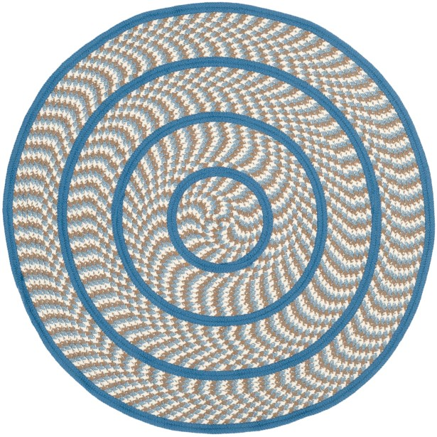 Georgina Contemporary Ivory/Blue Area Rug Rug Size: Round 6'