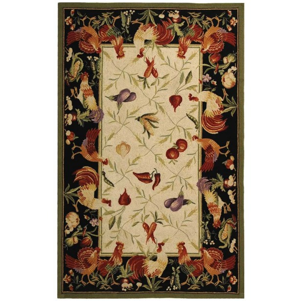 Kinchen Leaf and Chicken Novelty Area Rug Rug Size: Rectangle 3'9