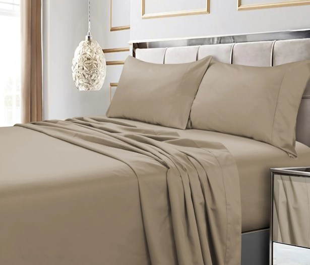 Hiram 600 Thread Count 6-Piece Egyptian Quality Cotton Sateen Deep Pocket Sheet Set Size: Queen, Color: Clay