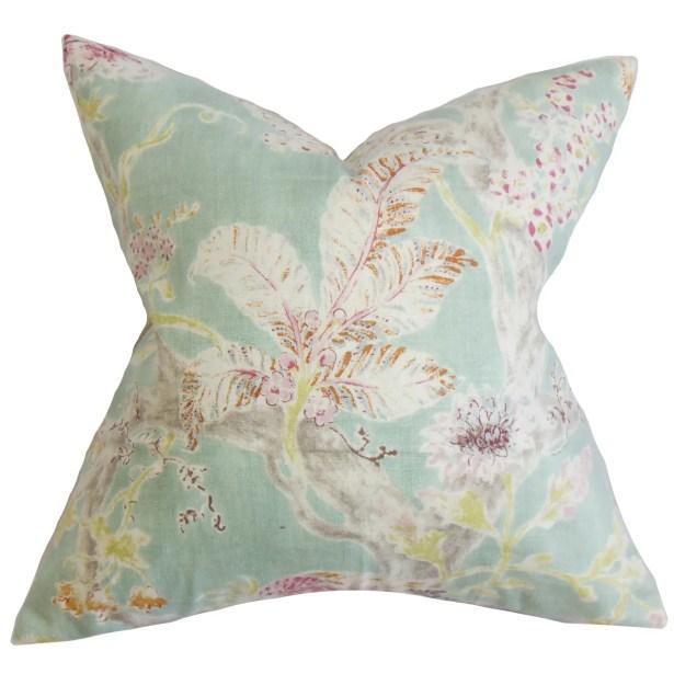 Ilana Floral Bedding Sham Size: Euro, Color: Sea Blue
