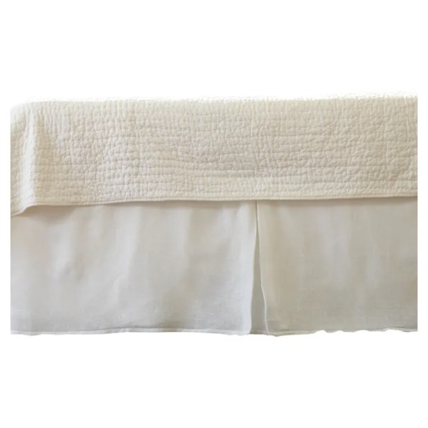 Cherry Linen Voile Bed Skirt Color: White, Size: Twin