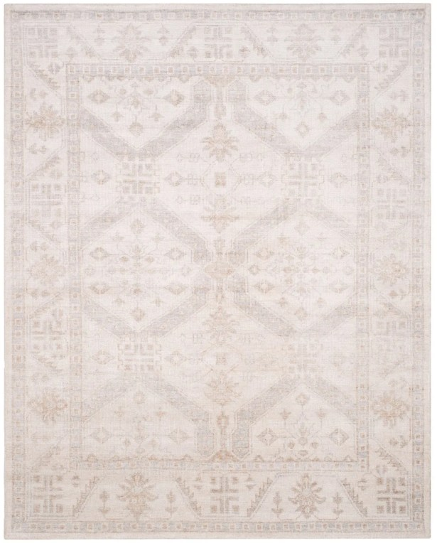 Yassine Hand-Knotted Beige/Blue Area Rug Rug Size: Rectangle 5' x 8'
