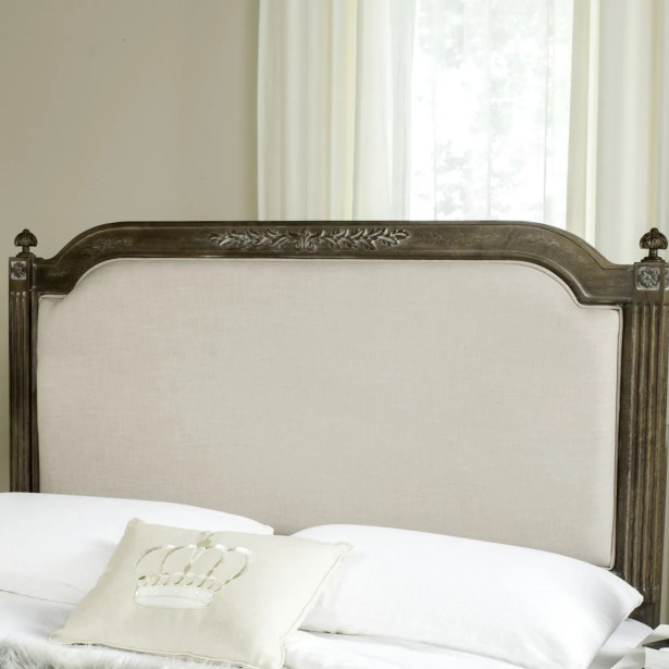 Oshields Upholstered Panel Headboard Color: Rustic Oak, Size: Queen