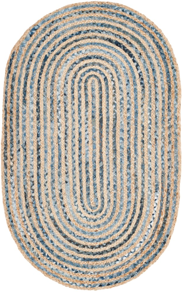 Brynne Hand-Woven Natural/Blue Area Rug Rug Size: Square 6'