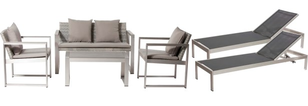 Hampshire 6 Piece Rattan Sofa Set with Cushions Frame Color: Black/White, Cushion Color: Blue