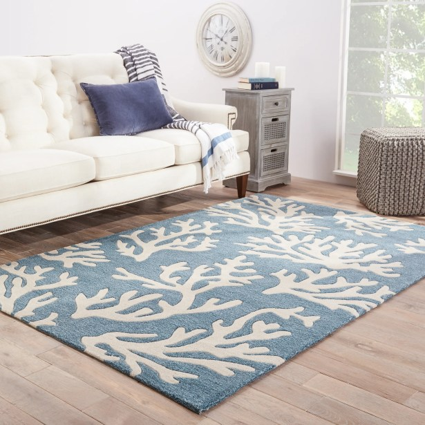 Margaret Hand-Tufted Blue/Ivory Area Rug Rug Size: Rectangle 9' x 12'