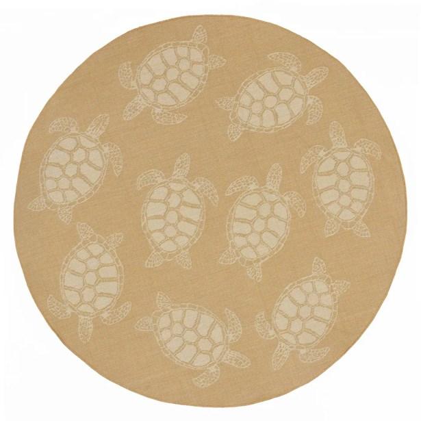 Clatterbuck Seaturtle Almond/Camel Indoor/Outdoor Area Rug Rug Size: Round 7'10
