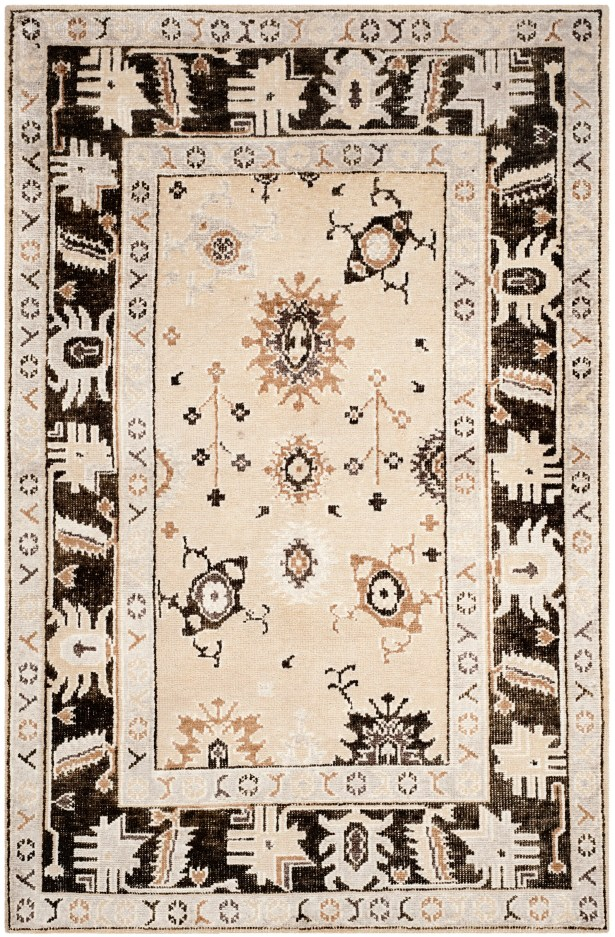 Morrison Hand-Knotted Beige/Charcoal Area Rug Rug Size: Rectangle 8' x 10'