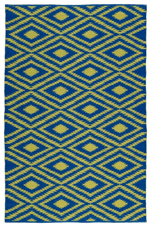 Greenfield Navy/Yellow Indoor/Outdoor Area Rug Rug Size: Rectangle 8' x 10'