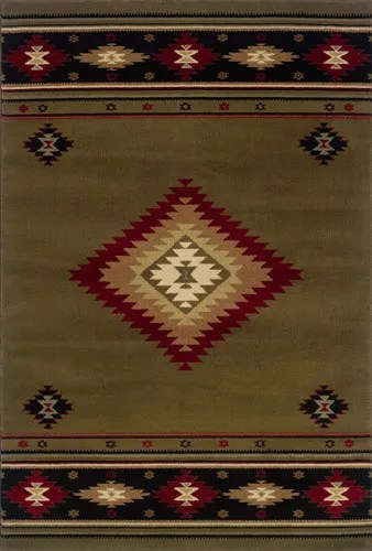 Johnson Village Green/Red Area Rug Rug Size: Rectangle 6'7