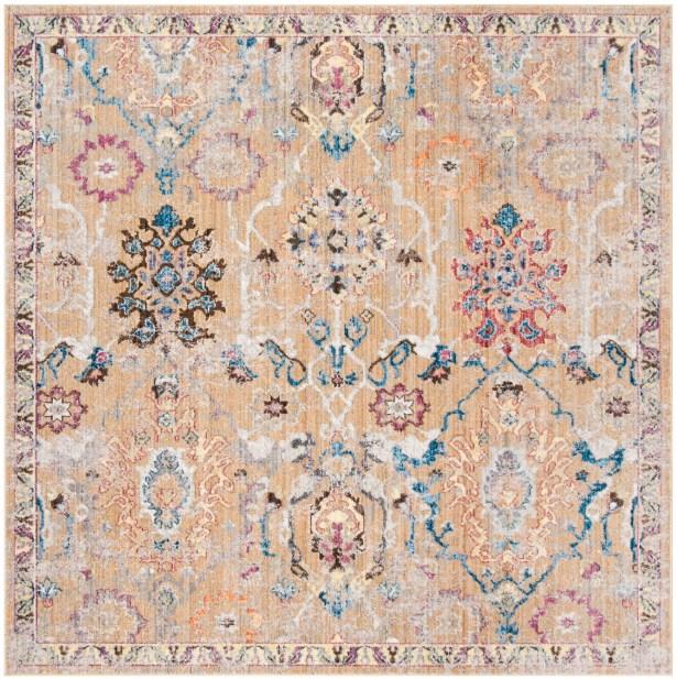 Hailey Camel/Blue Area Rug Rug Size: Rectangle 8' x 10'