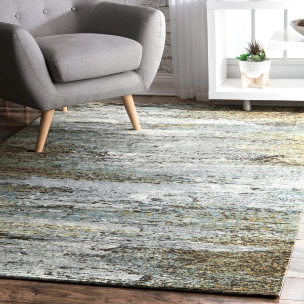 May White/Green Area Rug Rug Size: Rectangle 6' x 9'