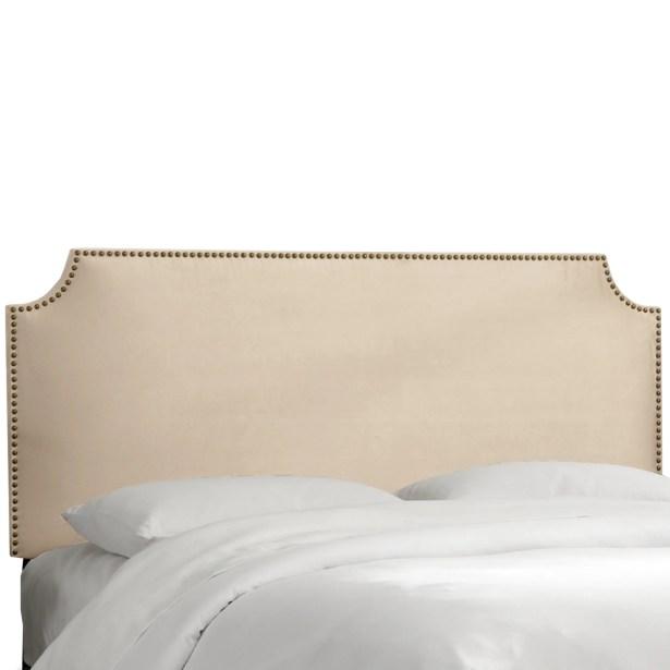 Alamak Velvet Notched Nail Button Upholstered Panel Headboard Size: Full, Upholstery: Velvet Pearl