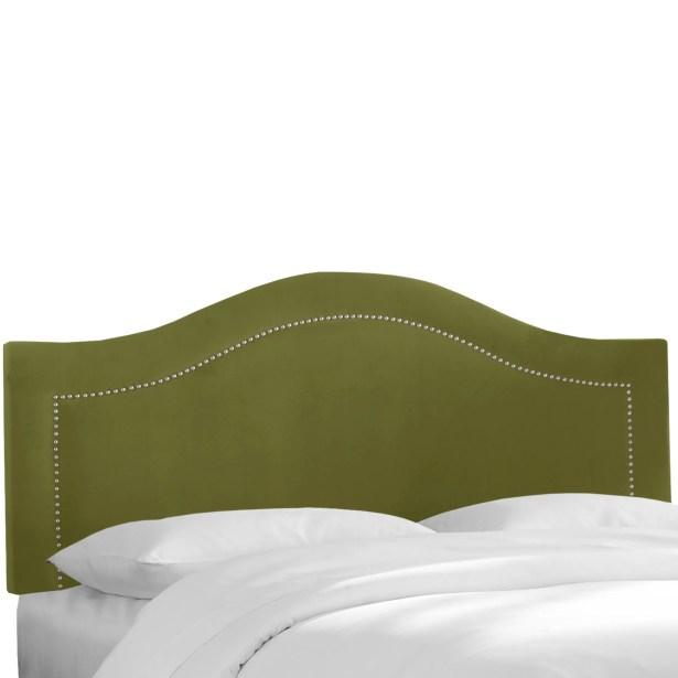 Alaraph Velvet Inset Nail Button Upholstered Panel Headboard Upholstery: Applegreen, Size: King
