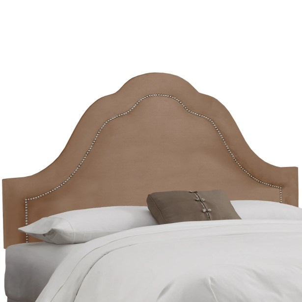 Dunlin Arch Inset Nail Button Upholstered Panel Headboard Size: Twin, Upholstery: Velvet Cocoa
