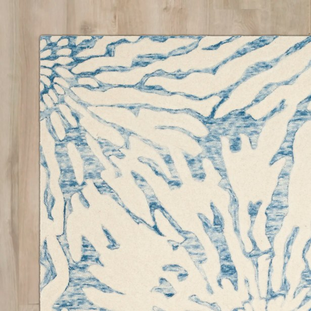 Romford Hand-Tufted Dark Blue/Ivory Area Rug Rug Size: Square 5'