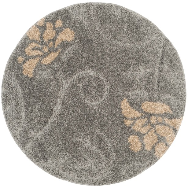 Flanery Gray/Beige Area Rug Rug Size: Round 4'