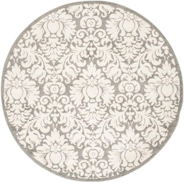 Maritza Floral Dark Grey/Beige Area Rug Rug Size: Round 9'