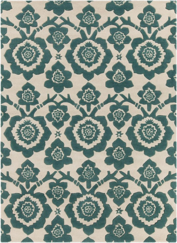 Dollins Hand Tufted Rectangle Contemporary Green/Cream Area Rug Rug Size: 5' x 7'