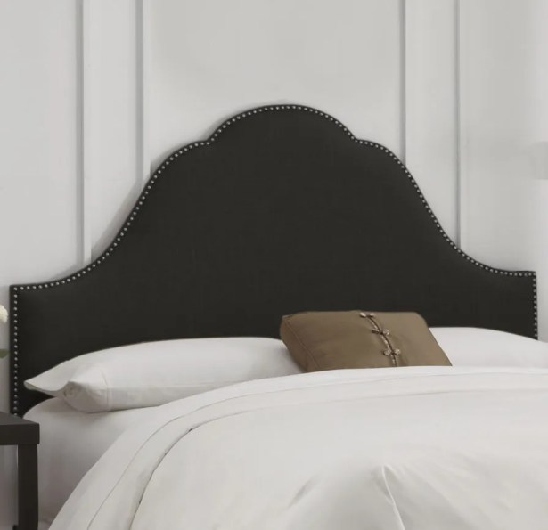 Rosecrans Nail Button Arch Upholstered Panel Headboard Size: California King, Color: Smokey Quartz