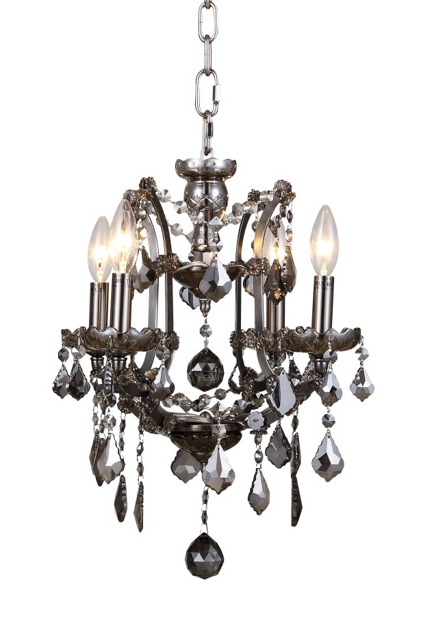Newell 4-Light Candle Style Chandelier Finish: Raw Steel, Shade Color: Clear